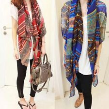Retro Graceful For Women Beach Shawl Voile Soft Silk Scarf Scarves Bohemian