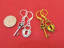 HEART & KEY Drop EARRINGS LeverBack OPTIONS: Silver or Gold, Heart or Key or mix