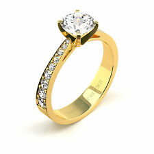 3.66 Ct Round G/I1 Diamond Solitaire Engagement Ring 14K Yellow Gold Enhanced