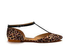 NEW Shoes of Prey Ballet Flat Ankle Strap  LEOPARD SATIN