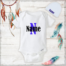 Personalized Name Cute Baby Boy Clothes Onesies Hat / Beanie - Shower Gift