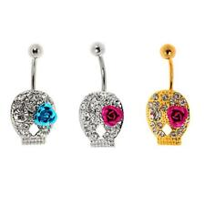 Stainless Steel Navel Belly Ring Skull Button Barbell Crtstal Piercing Jewelry