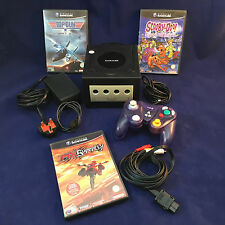 Nintendo GameCube Black Console Full Set Up With 3 Games Works Great