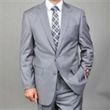 Grey Solid Giorgio Fiorelli Men Two Piece Mens Suit Flat Front Pants Flat Front
