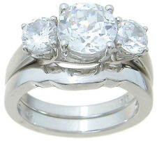 High Quality CZ Wedding Engagement Ring Set in Sterling Silver