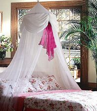 Sid Trading White & Pink Chiffon Furbelow Princess Bed Canopy By SID