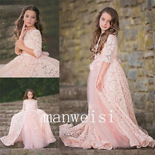 Pink Lace Flower Girl Dress Pageant Ball Gown Princess Party Prom Birthday Gowns