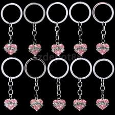 Pink Crystal Family Gifts Mom Sister Key Ring Keychain Heart Pendant Charms