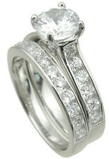 Sterling Silver Solitaire CZ Engagement Ring Set