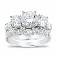 Vintage Cubic Zirconia Wedding Engagement Ring Set in Sterling Silver