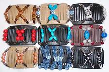 Double Magic Mini Hair Combs, African Style Butterfly Clips, Colorful Beads, MC6