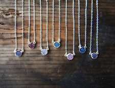 Silver Druzy Crystal Agate Druzy Gemstone Pendant Necklace