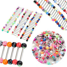 Lots Chic Surgical Steel Tongue Bars Rings Barbell Body Piercing Jewellery 6mm