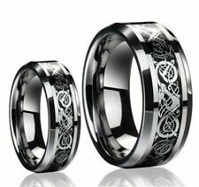 His & Hers 8MM/6MM Tungsten Carbide Celtic Knot Dragon Design Wedding Band Ring