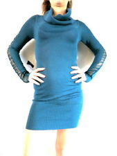 $98 NWT BEBE Turquoise COWL NECK ON/OFF SHOULDERS MESH SLEEVE SWEATER DRESS TUNI