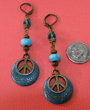 PEACE SIGN Daisy Flower Bronze Tone LEVERBACK Drop earrings OPT: Crystal roundel