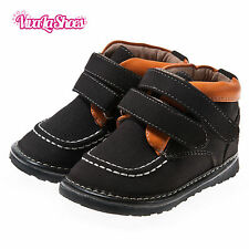 Boys Toddler - Leather Squeaky Shoes Boots - Black & Orange