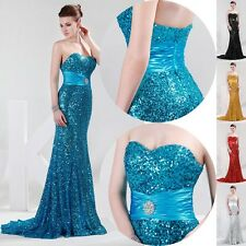 Sexy Mermaid Sequins Wedding Cocktail Pageant Ball Gown Party Evening Long Dress