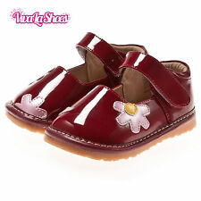 Girls Infant Toddler - Leather Squeaky Shoes - Red with Pink/Yellow Flowers