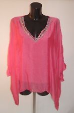 Silk Lagenlook Top Made In Italy V Neck Fully Lined Embroidered One Size