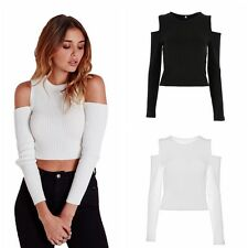 Womens Knit Jumper Crop Pullover Sweater Top Outerwear Outwear Cold Shoulder New