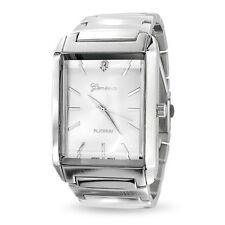 Bling Jewelry Stainless Steel Rectangle Dial Mens Link Watch