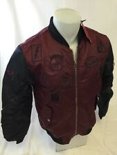 MENS VICTORIOUS BOMBER JACKET Urban WindBreaker BURGUNDY AVIATION PATCHES NWT
