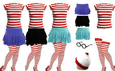 NEW WOMENS GIRLS NEW FANCY DRESS Wally Kit T-SHIRT COMPLETE OUTFIT BOOK WEEK DAY
