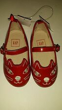 Baby Gap Red Cat Face Mary Jane Flats Dress Shoes NWT Toddler Girls