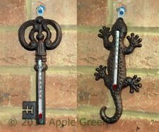 Cast Iron Key Gecko Lizard Outdoor Thermometer Wall Hanging Patio Ornament New