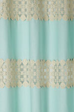 "Anthropologie Crochet Spliced Curtain Size 50"" x 63"", Ice Blue Linen & Cotton"