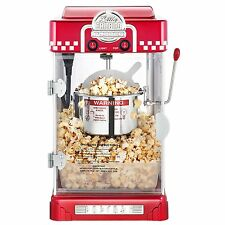 2.5 Oz Tabletop Retro Style Compact Popcorn Popper Machine w/ Removable Tray Red