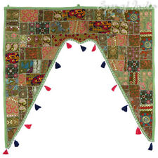 """40"""" GREEN PATCHWORK DOOR VALANCE TOPPER WALL HANGING TAPESTRY Bohemian Indian"""