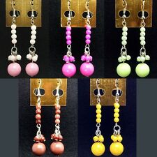 New Pink Green Brown Yellow Bead Lovely Korean Fashion Style Cute Ladies Earring
