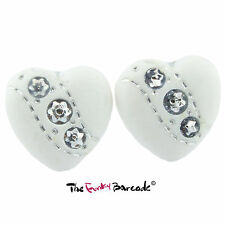 FUNKY WHITE DIAMANTE LOVE HEART STUD EARRINGS WEDDING GIRLS QUIRKY NOVELTY BRIDE