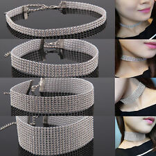 UK Silver & Colorful Diamante Crystal Party Christmas Choker Necklace Rhinestone