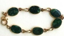 VINTAGE 12 KT GOLD FILLED GENUINE JADE GEMSTONE FLAT INLAY LINK BRACELET 7 1/2
