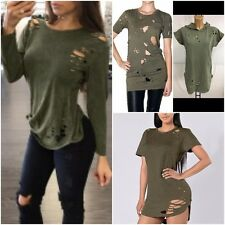 WOMENS LADIES RIPPED DISTRESSED OVERSIZED LONGLINE HOODED T-SHIRT DRESS TOP