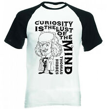 THOMAS HOBBES CURIOSITY QUOTE - NEW COTTON BASEBALL TSHIRT