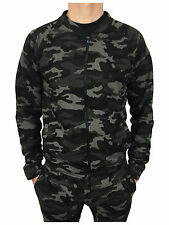 King Kouture Mens Skinny Fit Camo Bomber Zip Jacket in Black Size Small