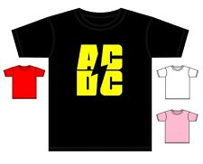 AC/DC T-SHIRT TODDLER BACK IN BLACK ROCK BAND TSHIRT ASST COLOURS 0-4 YRS NEW