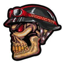 Speed Demon Biker Skull & Red Goggles Patch, Demonic Patches