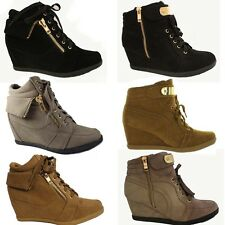 NEW Women High Top Wedge Heel Sneakers Ankle Bootie Platform Lace Up Girl Shoes