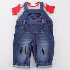 LADYBIRD Baby Boys 2pc Puppy Dungarees Outfit. 3-6-9 m UK Designed NWT