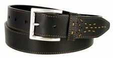 "Lejon Genuine Smooth Leather Stitched Casual Belt 1-3/8"" Wide Black Brown"