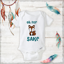 Oh For Fox Sake Turquoise Onesies Baby Fox Clothing Boy/Girl Baby Shower Funny