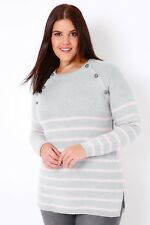 Plus Size Grey & Pale Pink Stripe Knit Jumper With Grey Buttons 16-36
