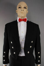Scottish Black Formal Prince Charlie Kilt Jacket in 100%purewool with Waistcoat