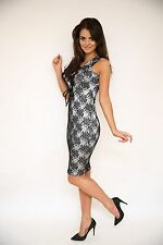 LADIES BLACK LACE AND SILVER TIE FRONT DRESS BNWT RRP £49 SIZE 8 10 and 12