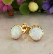 14K Solid Yellow Gold 6mm Handmade White Opal Gemstone Stud Round Earrings